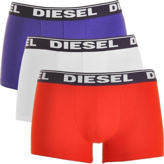 DIESEL Fresh & Bright 3-Pack Boxer Trunk UMBX-Shawn, White / Red / Purple