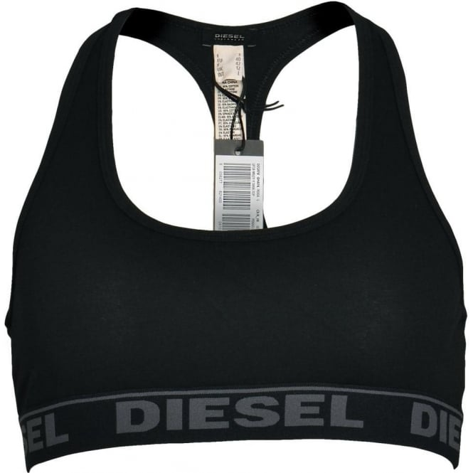 DIESEL MILEY Cotton Bralette, Black With Grey