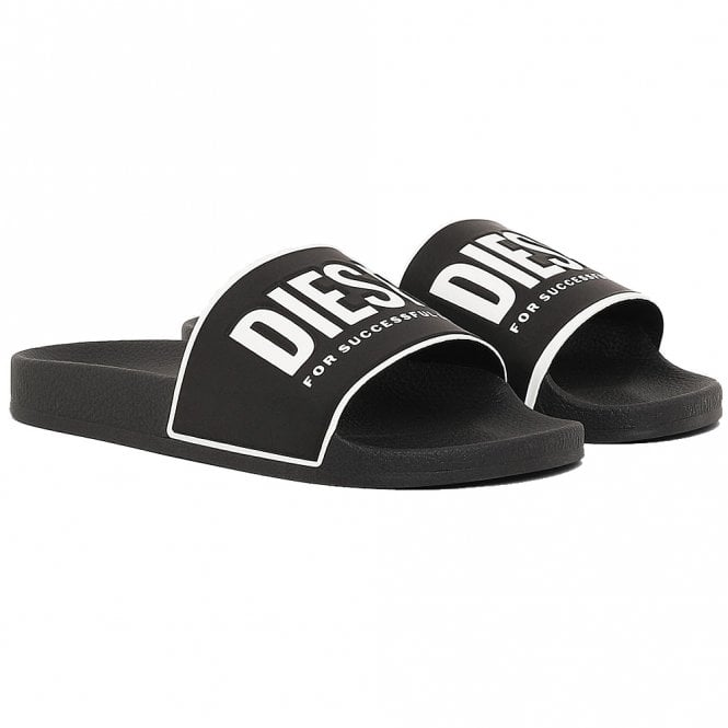 DIESEL SA-VALLA Pool Slides With Logo Print, Black