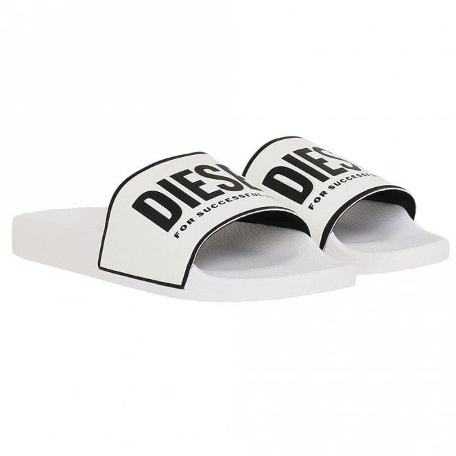 DIESEL SA-VALLA Pool Slides With Logo Print, White