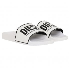 SA-VALLA Pool Slides With Logo Print, White