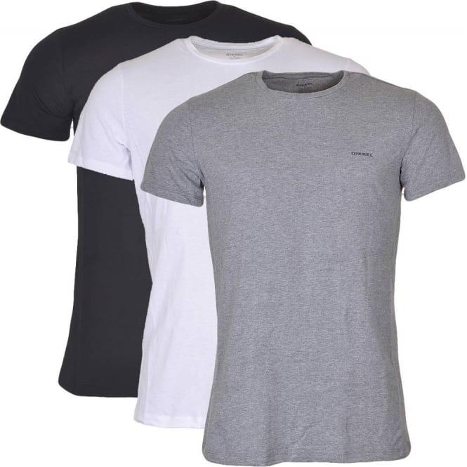 DIESEL UMTEE Jake 3-Pack Crew Neck T-Shirt, Black/Grey/White