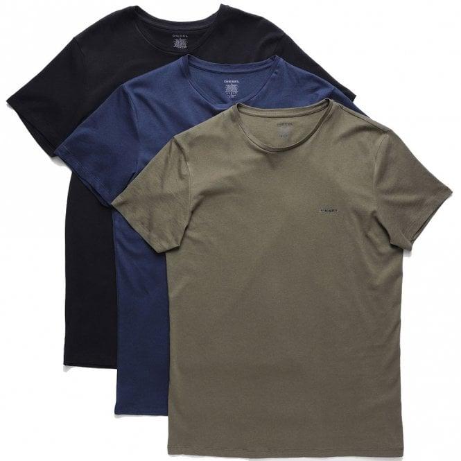 DIESEL UMTEE Jake 3-Pack Crew Neck T-Shirt, Green/Blue/Black