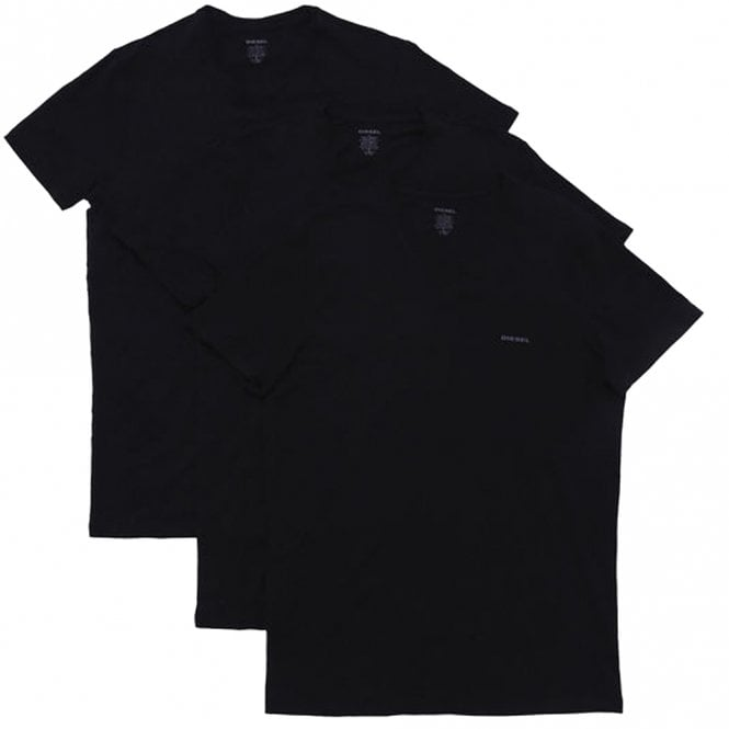 DIESEL UMTEE Jake 3-Pack 'V' Neck T-Shirt, All Black