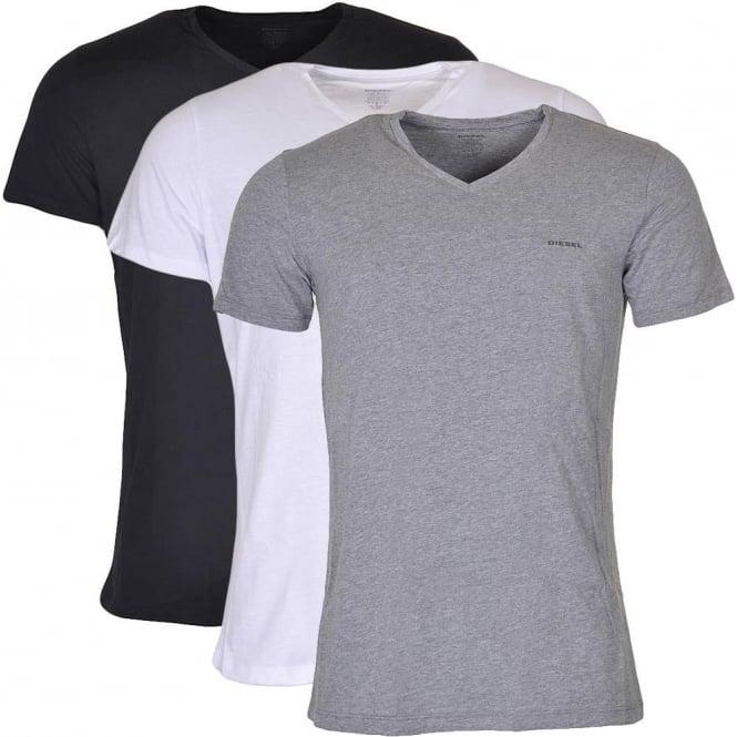 DIESEL UMTEE Jake 3-Pack 'V' Neck T-Shirt, Black/Grey/White
