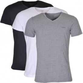 UMTEE Jake 3-Pack 'V' Neck T-Shirt, Black/Grey/White