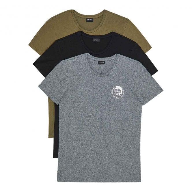 DIESEL UMTEE Randal 3-Pack Crew Neck T-Shirt, Black / Grey / Green