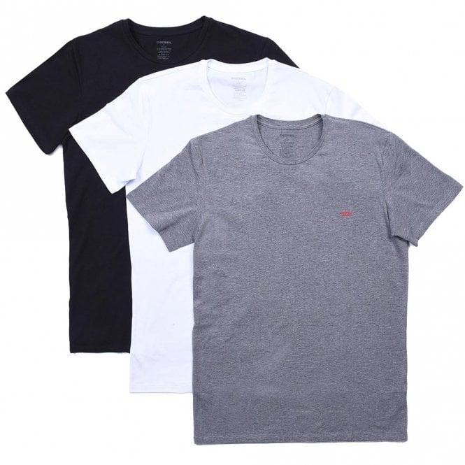 DIESEL UMTEE Randal 3-Pack Crew Neck T-Shirt, Black/White/Grey