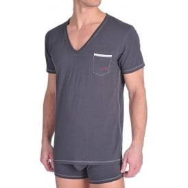 Under Denim Deep V-Neck T-Shirt UMTEE Jesse, Charcoal