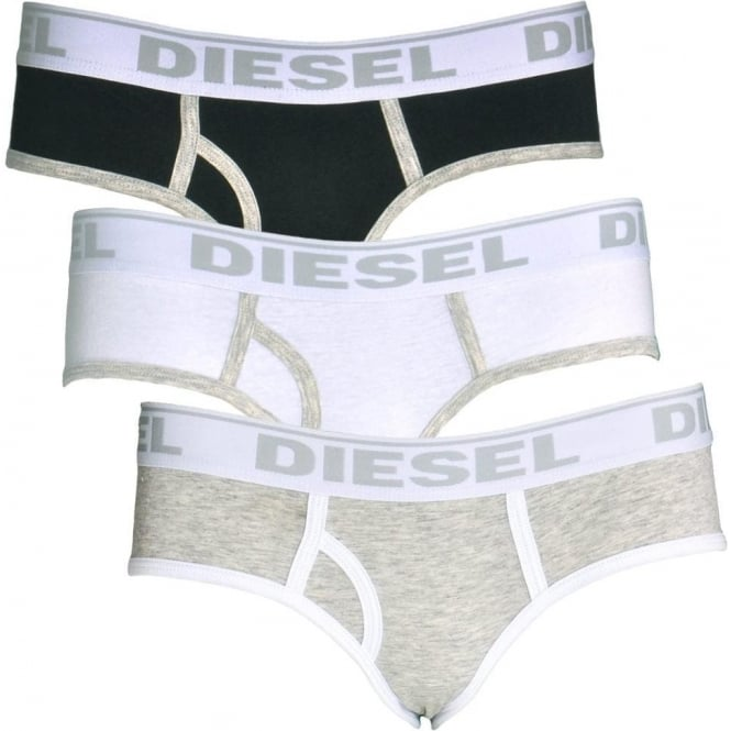DIESEL Women OXY Cotton 3-Pack Briefs, White / Heather Grey / Black