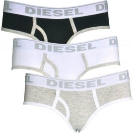 OXY Cotton 3-Pack Briefs, White / Heather Grey / Black