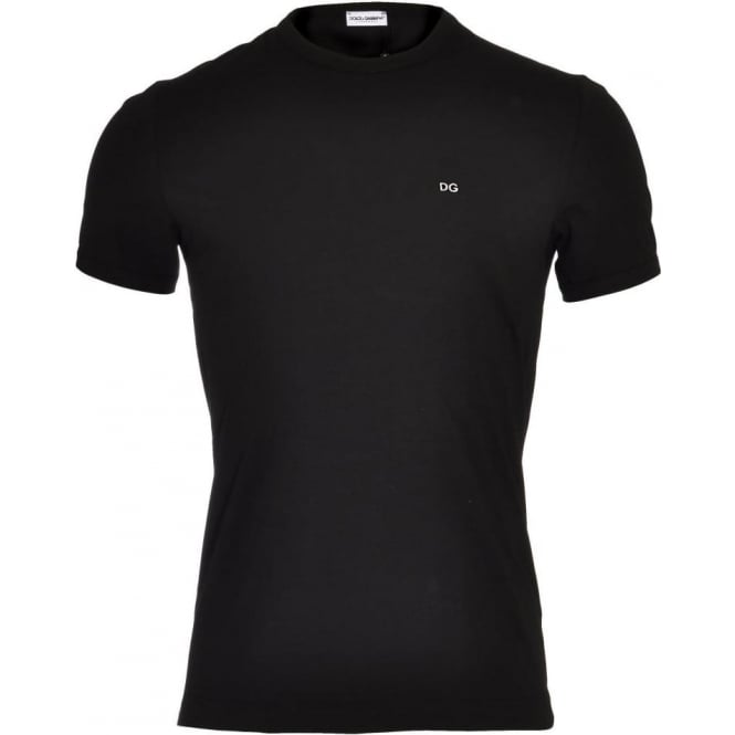 Dolce & Gabbana FUGIA Crew Neck Stretch Cotton T-Shirt, Black