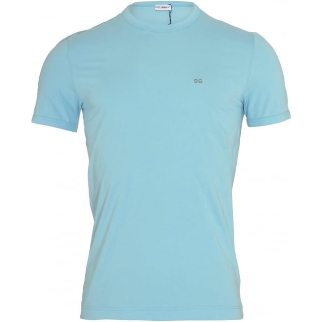Dolce & Gabbana FUGIA Crew Neck Stretch Cotton T-Shirt, Light Blue