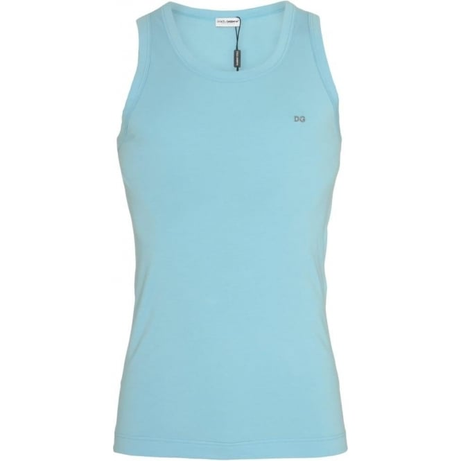 Dolce & Gabbana FUGIA Stretch Cotton Tank Top, Light Blue