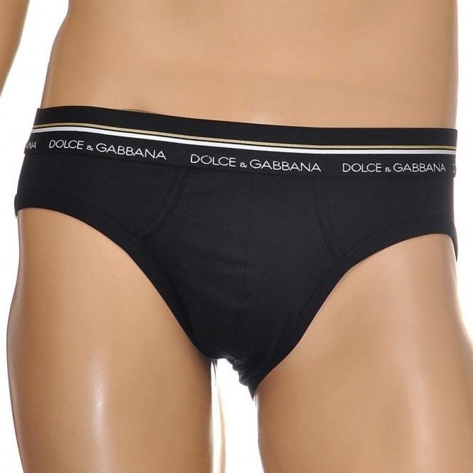 Dolce & Gabbana Mako Stretch Cotton Midi Brief, Black
