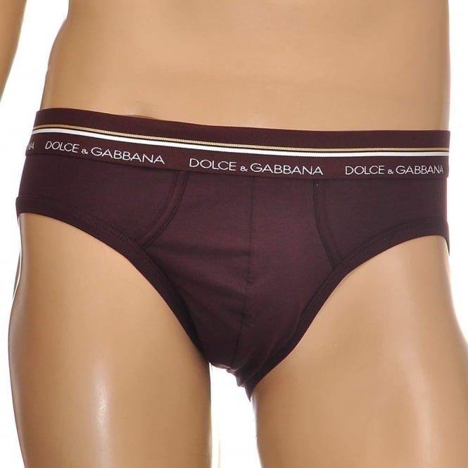Dolce & Gabbana Mako Stretch Cotton Midi Brief, Brown / Dark Violet