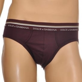 Mako Stretch Cotton Midi Brief, Brown / Dark Violet