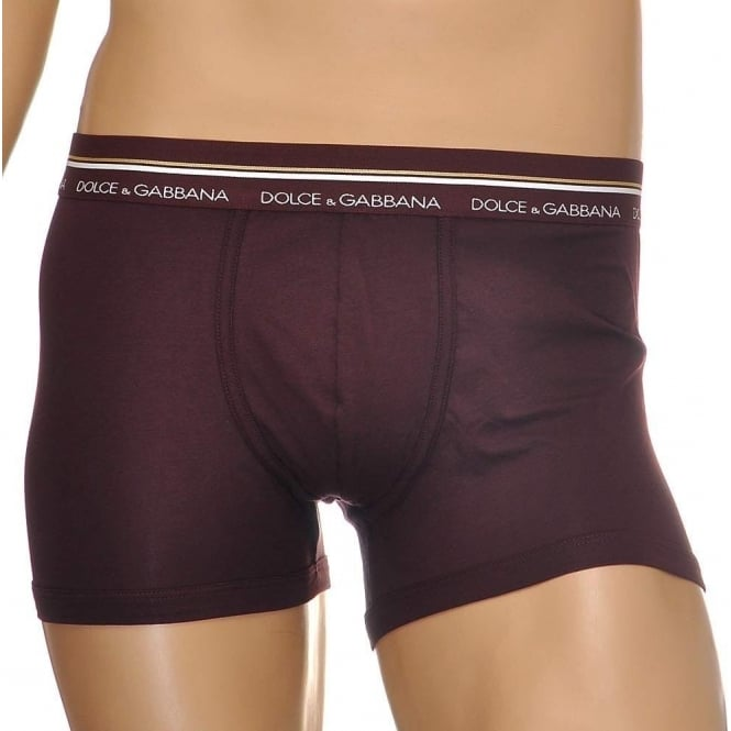 Dolce & Gabbana Mako Stretch Cotton Regular Boxer, Brown / Dark Violet
