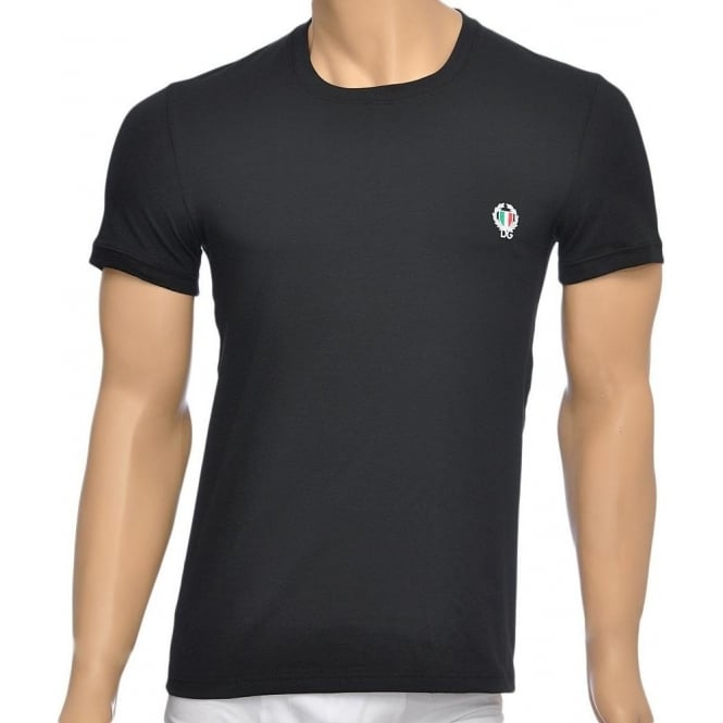 Dolce & Gabbana Sport Crest Crew Neck Stretch Cotton T-Shirt, Black