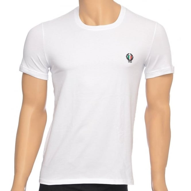 Dolce & Gabbana Sport Crest Crew Neck Stretch Cotton T-Shirt, White