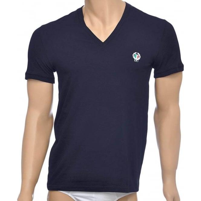 Dolce & Gabbana Sport Crest Deep V-Neck Stretch Cotton T-Shirt, Navy