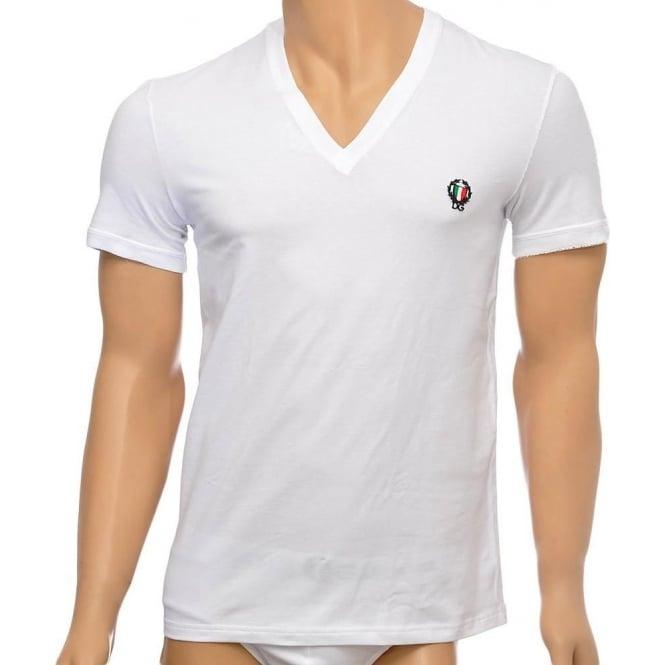Dolce & Gabbana Sport Crest Deep V-Neck Stretch Cotton T-Shirt, White