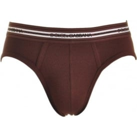 Stretch Ribbed Cotton Midi Brief, Bordeaux