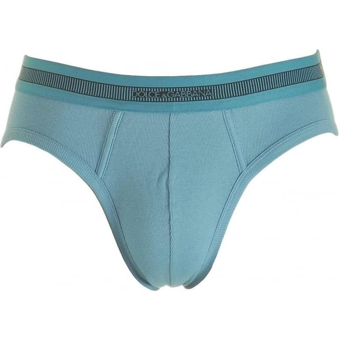 Dolce & Gabbana Stretch Ribbed Cotton Midi Brief, Dark Light Blue