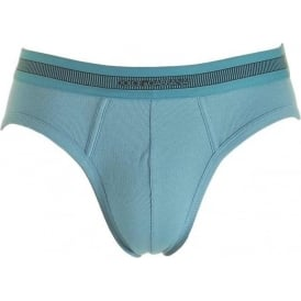 Stretch Ribbed Cotton Midi Brief, Dark Light Blue