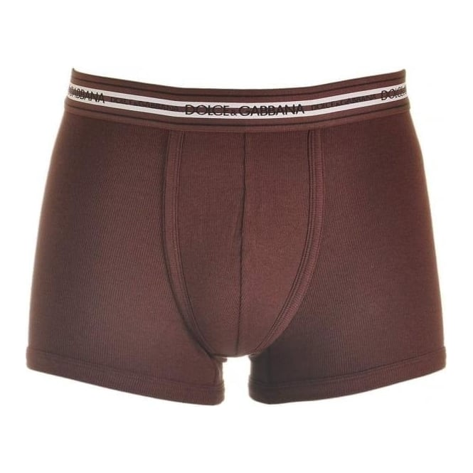 Dolce & Gabbana Stretch Ribbed Cotton Regular Boxer, Bordeaux