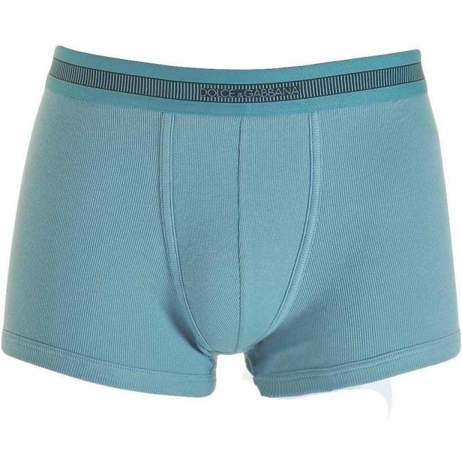 Dolce & Gabbana Stretch Ribbed Cotton Regular Boxer, Dark Light Blue
