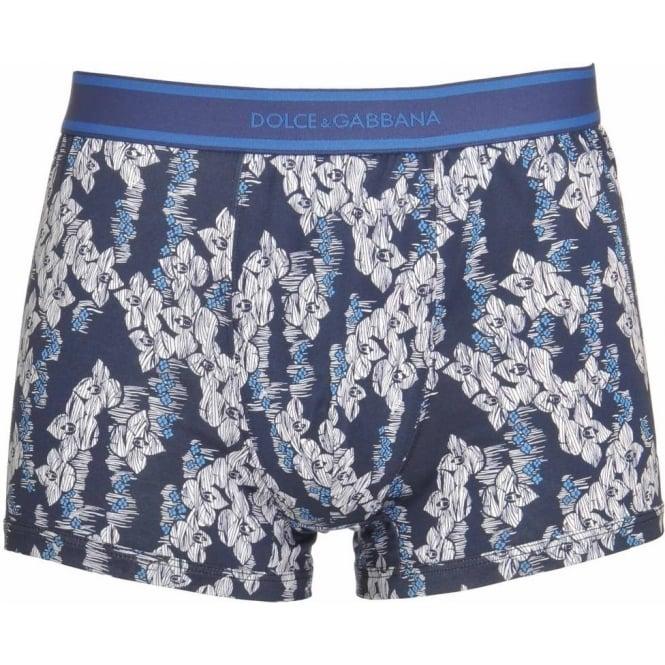 Dolce & Gabbana Woven Regular Boxer, Blue Floral Print
