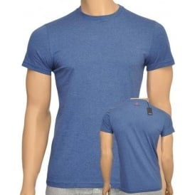 Cotton Crew Neck Short Sleeve T-shirt, Blue