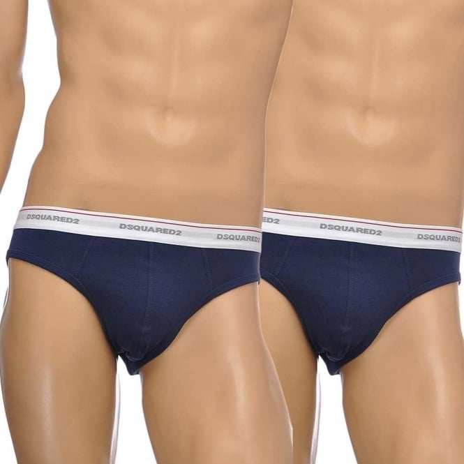 DSQUARED2 Cotton Stretch 2-Pack Low Rise Brief, Navy