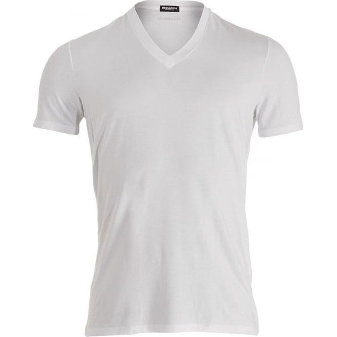 DSQUARED2 Modal Stretch V-Neck T-shirt, White