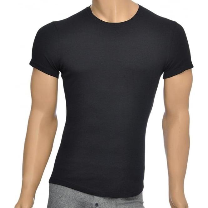 DSQUARED2 Rib Cotton Stretch Crew Neck T-shirt, Black