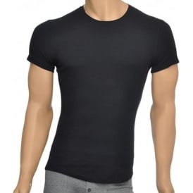 Rib Cotton Stretch Crew Neck T-shirt, Black