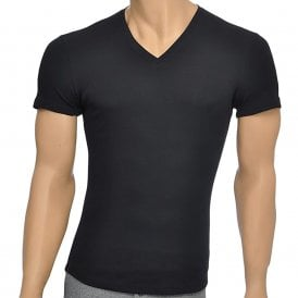 Rib Cotton Stretch V-Neck T-shirt, Black
