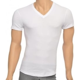 Rib Cotton Stretch V-Neck T-shirt, White