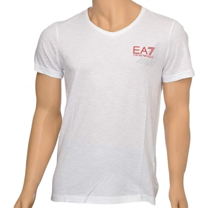 EA7 Emporio Armani Swimwear Sea World Core Eagle V-Neck T-Shirt, White