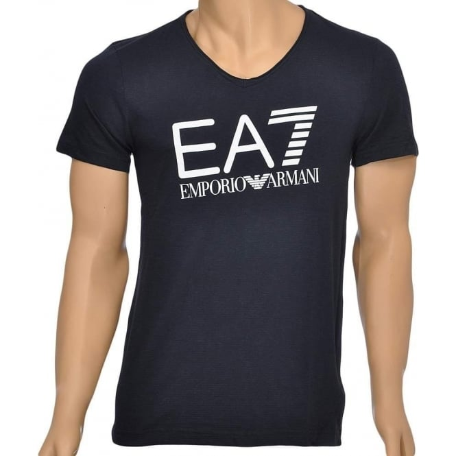 293477f5 EA7 Emporio Armani Sea World Core Logo V-Neck T-Shirt Blue