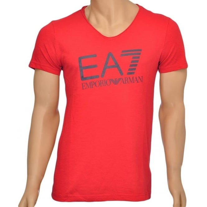 358d5a77 EA7 Emporio Armani Sea World Core Logo V-Neck T-Shirt, Red, Small