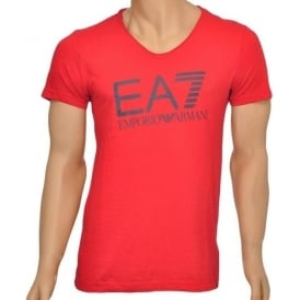 Sea World Core Logo V-Neck T-Shirt, Red
