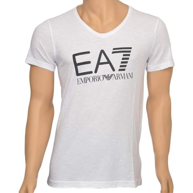 EA7 Emporio Armani Swimwear Sea World Core Logo V-Neck T-Shirt, White