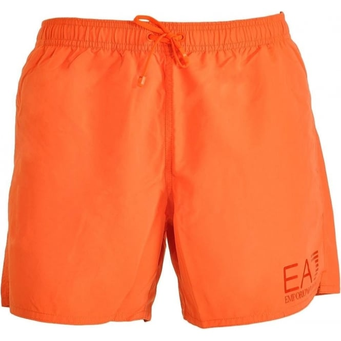 EA7 Emporio Armani Swimwear Sea World Eagle Swim Shorts, Orange