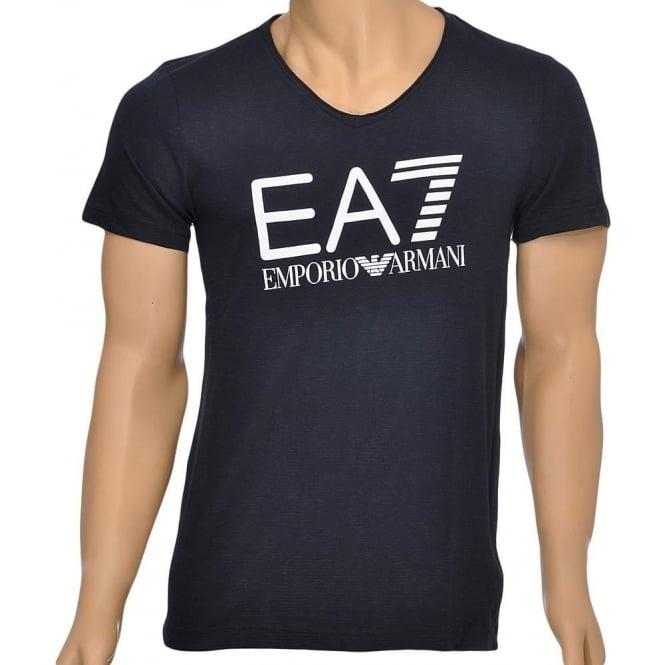 EA7 Emporio Armani Swimwear Sea World Core Logo V-Neck T-Shirt, Blue