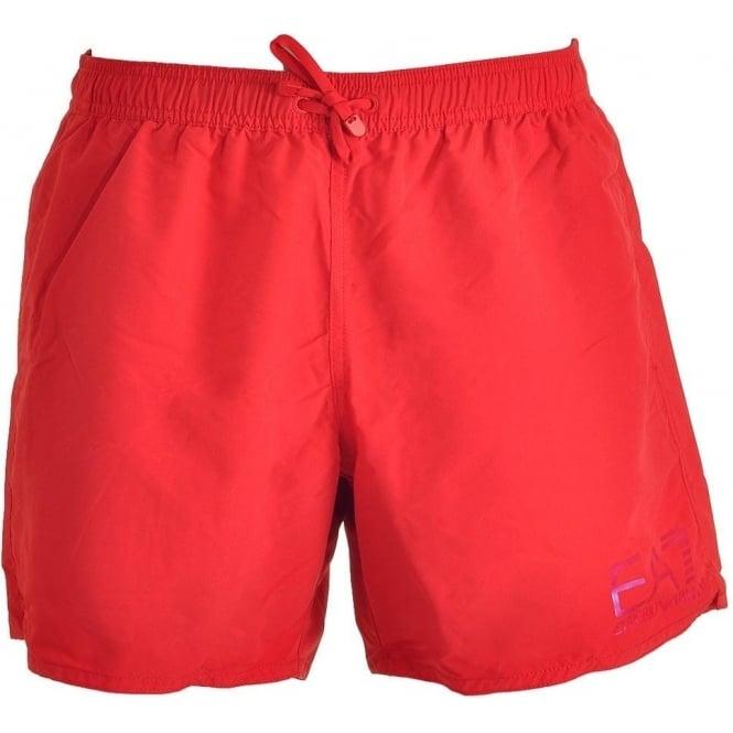 EA7 Emporio Armani Swimwear Sea World Eagle Swim Shorts, Red