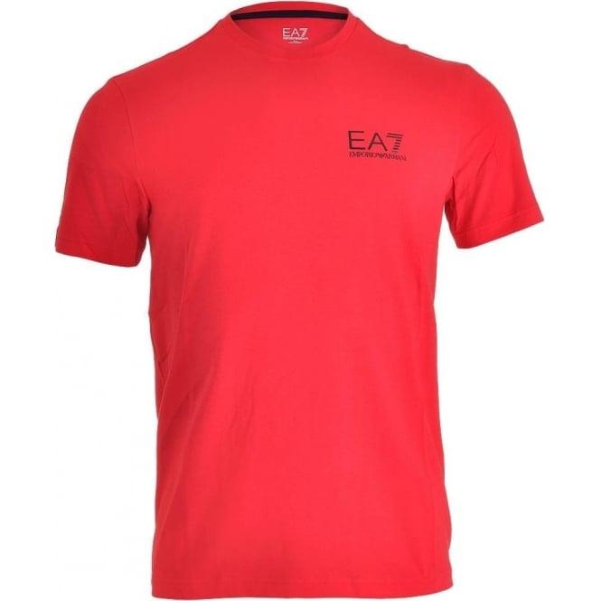 EA7 Emporio Armani Swimwear Train Core ID Logo Crew Neck T-Shirt, Racing Red