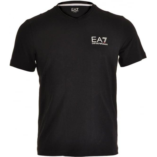 EA7 Emporio Armani Swimwear Train Core ID Logo V-Neck T-Shirt, Black