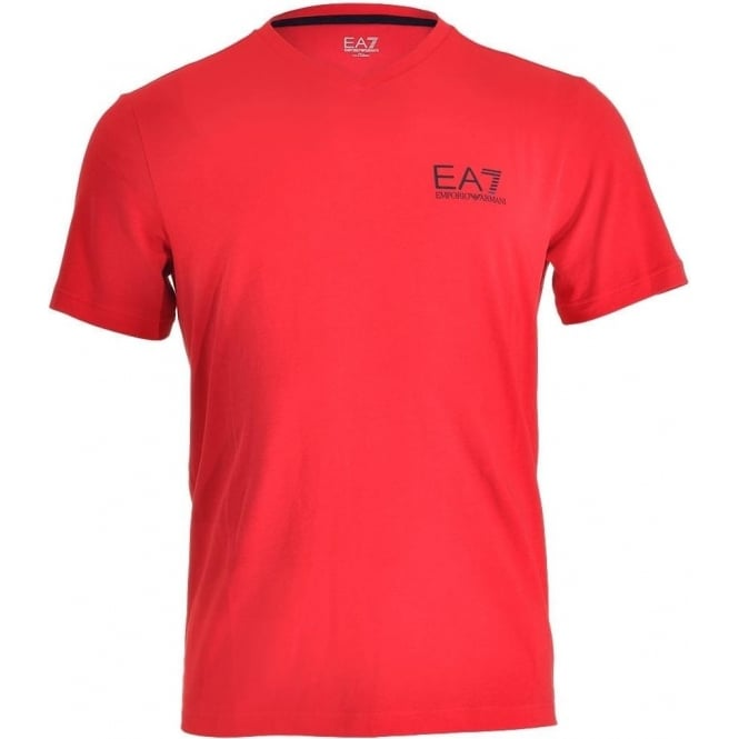 EA7 Emporio Armani Swimwear Train Core ID Logo V-Neck T-Shirt, Racing Red